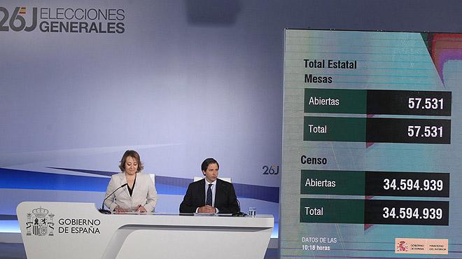 El subsecretario del Ministerio del Interior, Luis Aguilera, y la secretaria de Estado de Comunicación, Carmen Martínez, han informadodesde el centro de datos de la absoluta normalidad en el arranque de la jornada electoral.