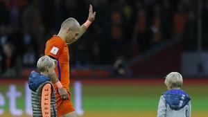 Robben, con la camiseta de la selección holandesa.