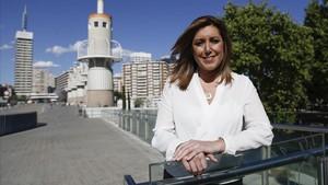 Susana Díaz, durante una entrevista de EL PERIÓDICO, el pasado mayo, en el Parque de la España Industrial de Sants, en Barcelona.