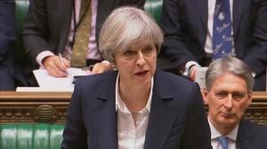 La primera ministra, Theresa May, en el Parlamento birtánico.