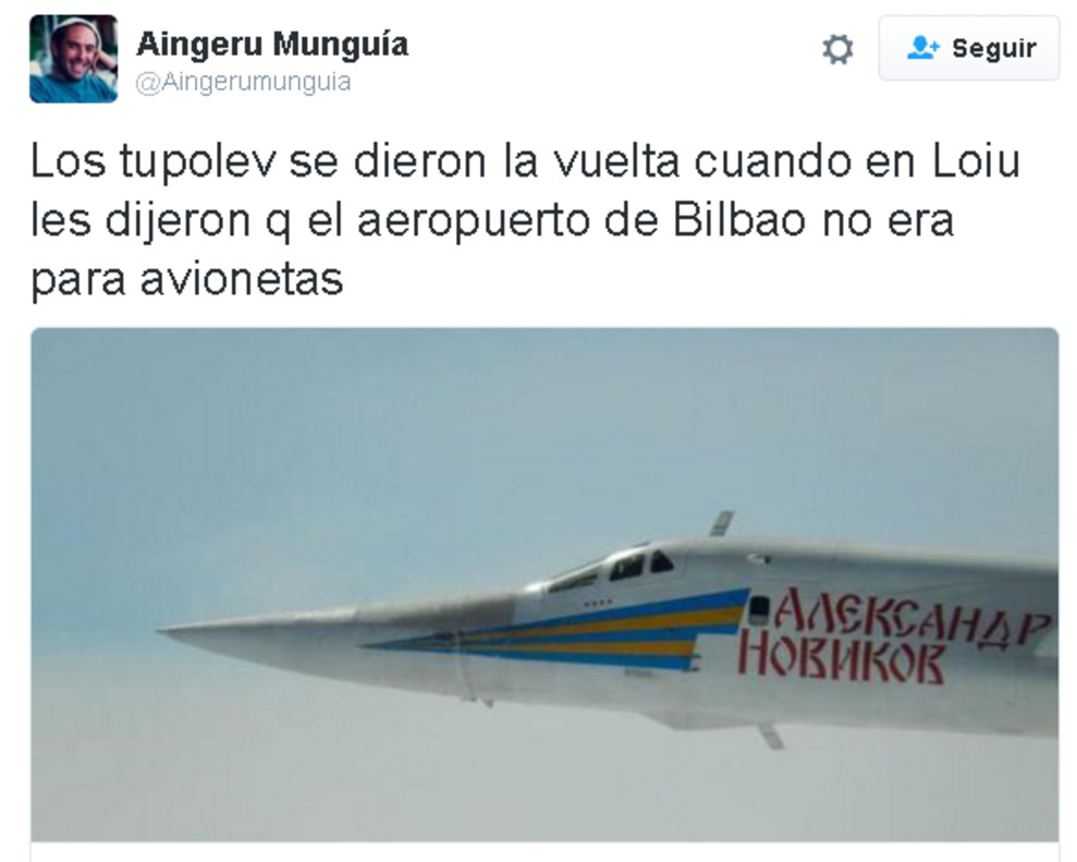 La incursión de dos bombarderos rusos sobre Bilbao desata los chistes en Twitter