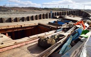 Una embarcación norcoreana hallada en las costas de Akita, en el norte de Japón.
