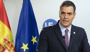 Pedro Sánchez, en una rueda de prensa en Bruselas tras el Consejo Europeo.