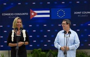Federica Mogherini,representante de la Unión Europea yministro de Exteriores cubano, Bruno Rodríguez.