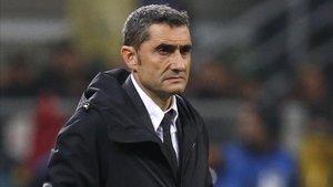 Valverde durante el Inter-Barça.