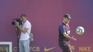 Valverde, en el entrenamiento previo al duelo con el Villarreal.