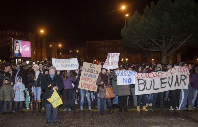 Vecinos del barrio de Gamonal, en la manifestación de este domingo.