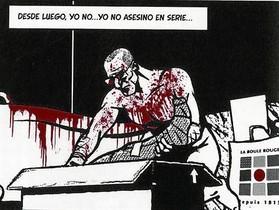 Viñeta donde el protagonista de Yo, asesino empaqueta a su víctima descuartizada. Al lado, retratos de Altarriba y Keko (abajo), por el propio Keko.
