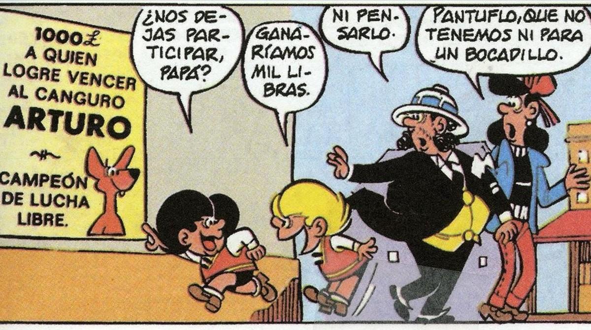 Viñeta de 'La vuelta al mundo' (1971), primera aventura larga de Zipi y Zape, en la que los traviesos hermanos viajan con sus padres.