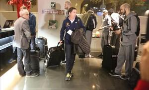 Xavi Pascual, a su llegada al hotel de Barcelona al frente del Panathinaikos