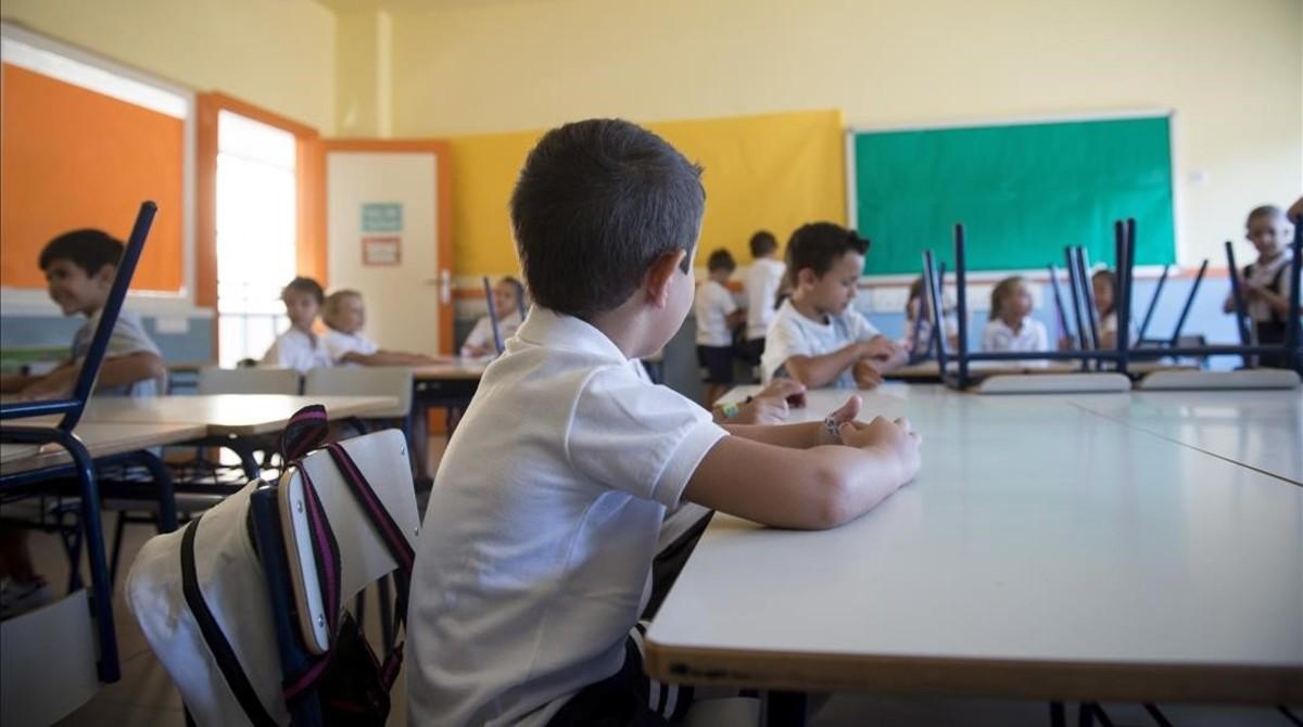 Clase de un colegio público en Madrid.