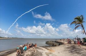 Despegue de un cohete Ariane 5 en la Guyana francesa, con uno de los satélites Galileo a bordo, en noviembre del 2016.