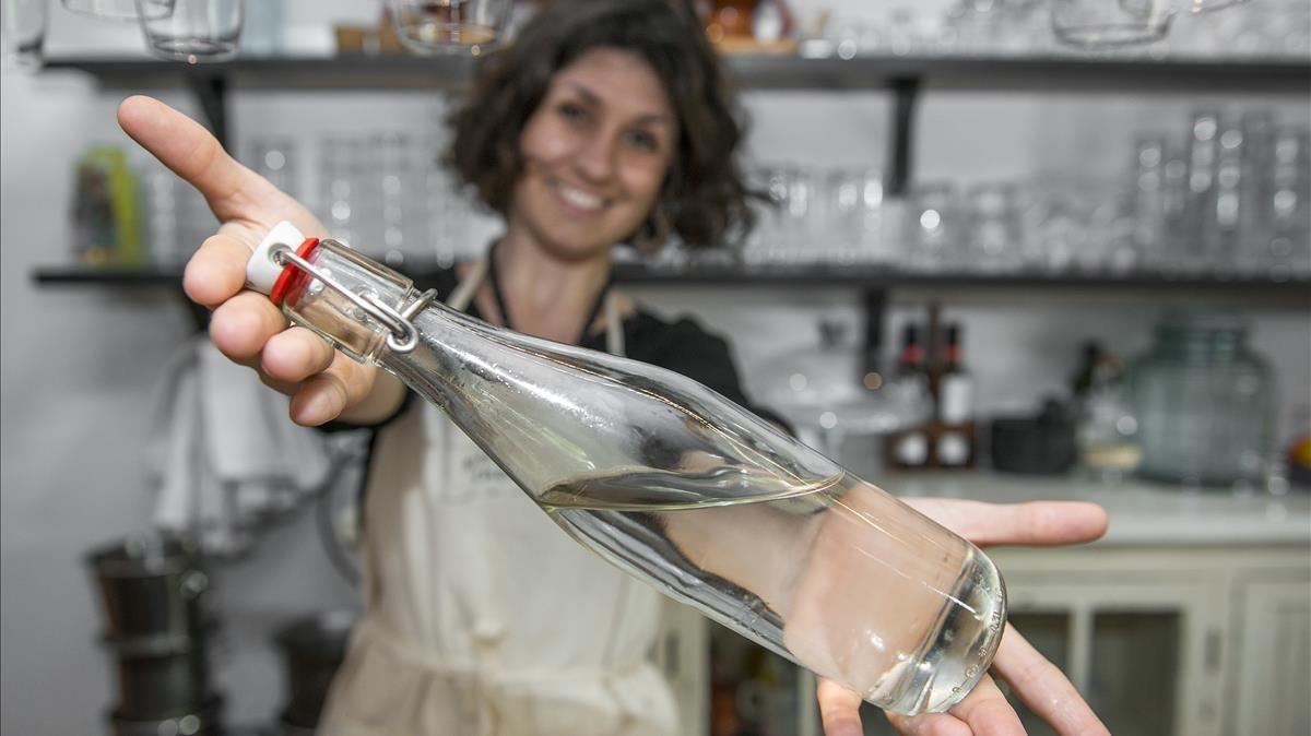 Agua filtrada en el restaurante Mala Hierba.