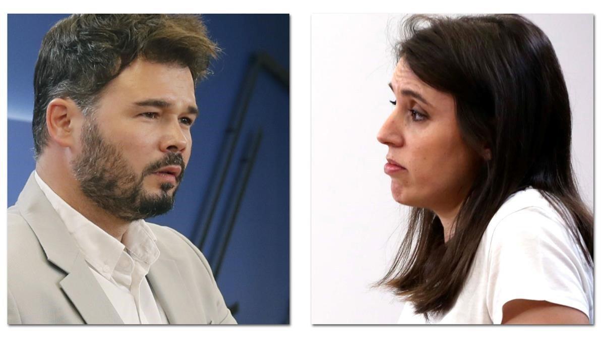 Rufián defensa la capacitat d'Irene Montero per entrar al Govern de Sánchez