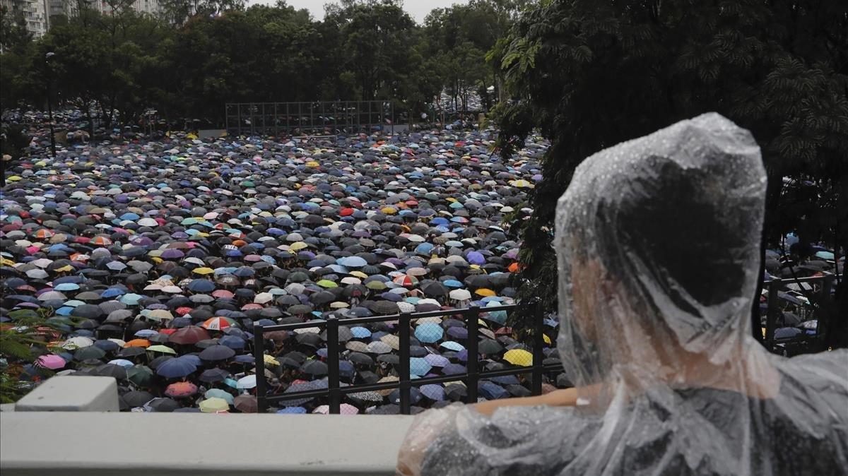Concentración este domingo en un parque de Hong Kong.