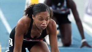 Allyson Félix durante su última competición de la semifinal de los 400 metros en Iowa en julio del 2019.