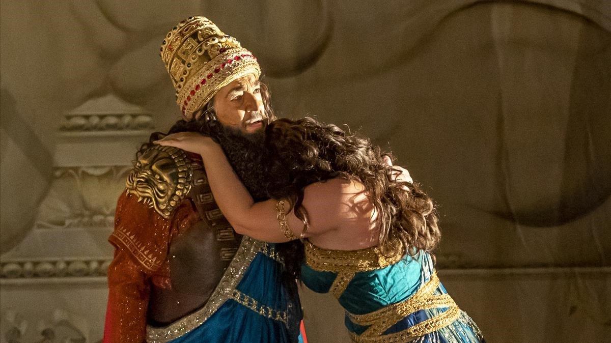 Plácido Domingo, en el ensayo general de 'Nabucco', el viernes pasado en el Palau de les Arts.