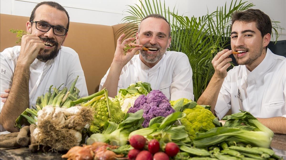 El equipo verde de Virens: Sergio Ruiz, Rodrigo de la Calle y Joan Lleixà.