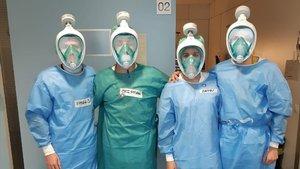 Sant Pau rep les primeres mascaretes de bussejar adaptades per als sanitaris