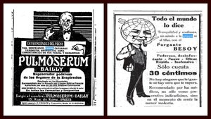 Un bebedizo y un purgante contra la gripe, anundiados en la prensa durante la pandemia de 1918.