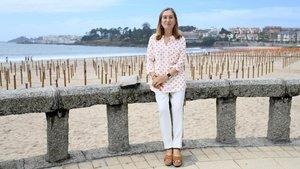 Ana Pastor, dirigente del Partido Popular en el paseo de Silgar, Sanxenxo.