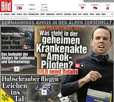 La portada del sensacionalista Bild, amb una foto dAndreas Lubitz i el titular Amok-piloten, pilot psicòpata.