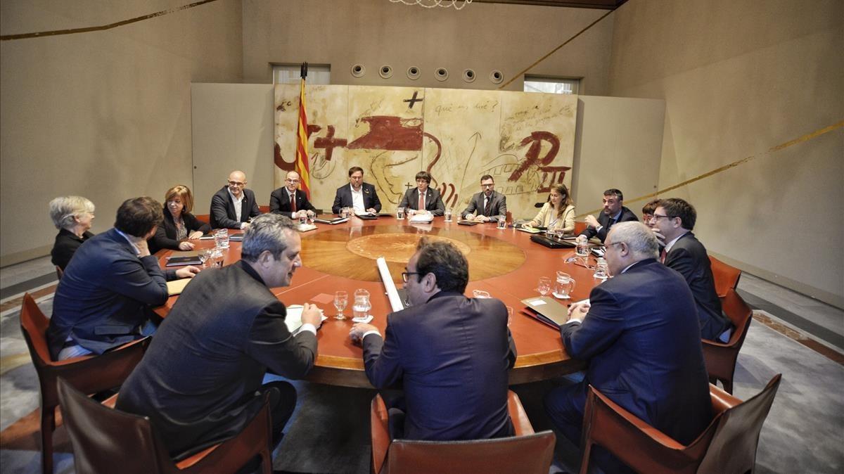 Reunión ejecutiva de Govern en el Palau de la Generalitat.
