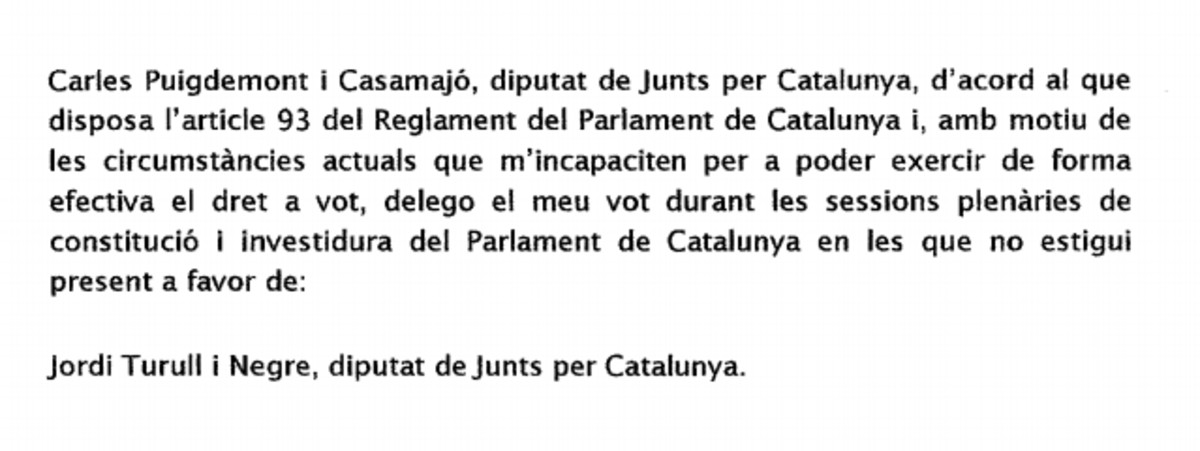 Registro Parlament Puigdemont voto delegado