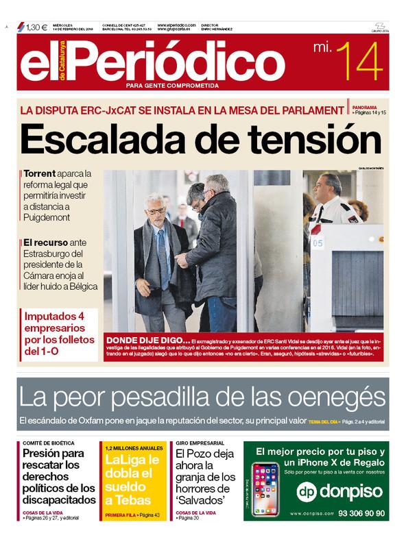 La portada de EL PERIÓDICO del 14 de febrero del 2018