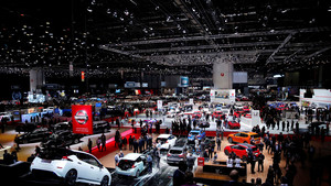 Vista general durante el primer día de prensa del Salón del Automóvil de Ginebra