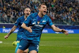 Los jugadores del Zenit celebran un gol en la época anterior a la pandemia.