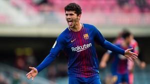 Aleñá celebra el primer gol del Barça B.