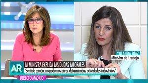 """Ana Rosa reprende a la ministra de Trabajo: """"¿Por qué no cuentan con todo el espectro político?"""""""