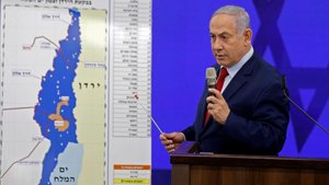 Binyamin Netanyahu durante la comparecencia de hoy.