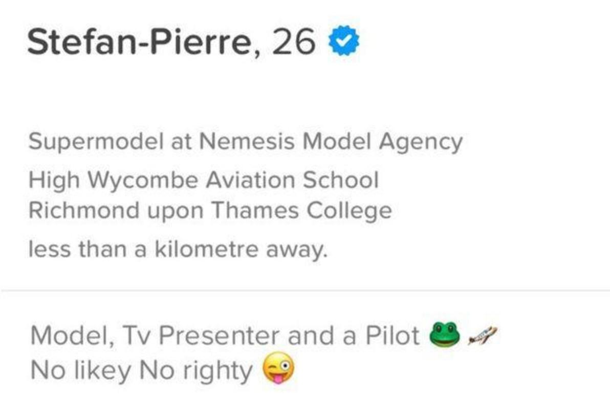 La biografía de Stefan-Pierre Tomlin en Tinder.