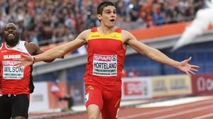 Bruno Hortelano, cuando ganó la medalla en los Europeos de Amsterdam.