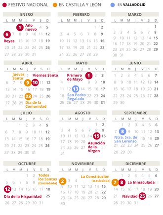 Calendario laboral de Valladolid del 2020.