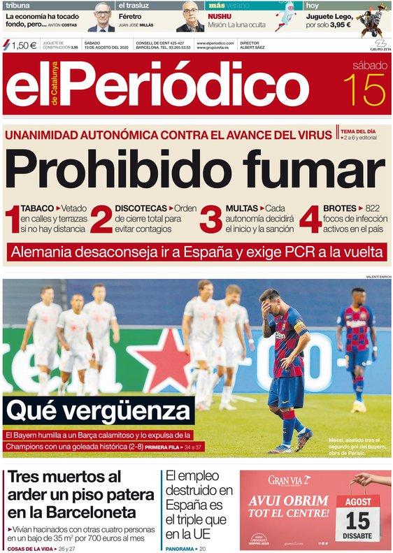 La portada de EL PERIÓDICO del 15 d'agost del 2020