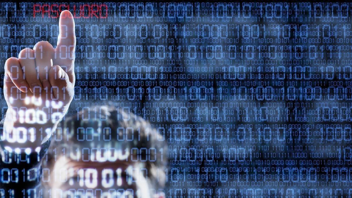 Código binario y phishing en correos electrónicos.