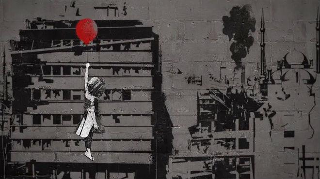 Corto de la nueva versión del famoso mural 'Niña con el globo', que el artista británico Banksy ha cedido a la agrupación de oenegé #WithSyria