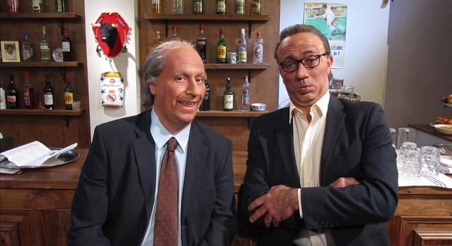 Josep Lluís Núñez (Carlos Latre) y Joan Gaspart (Pep Plaza), en 'Crackòvia'.