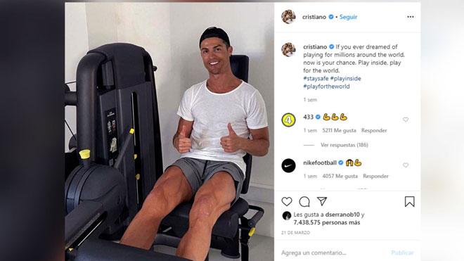 Cristiano Ronaldo pide a sus seguidores que se queden en casa.