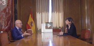 Duran Lleida con Cristina Puig, durante la entrevista en FAQS.