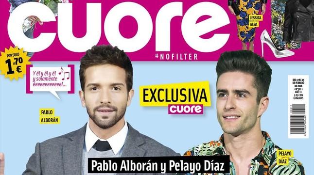La amistad de Pablo Alborán y Pelayo Díaz, portada de la revista 'Cuore'.