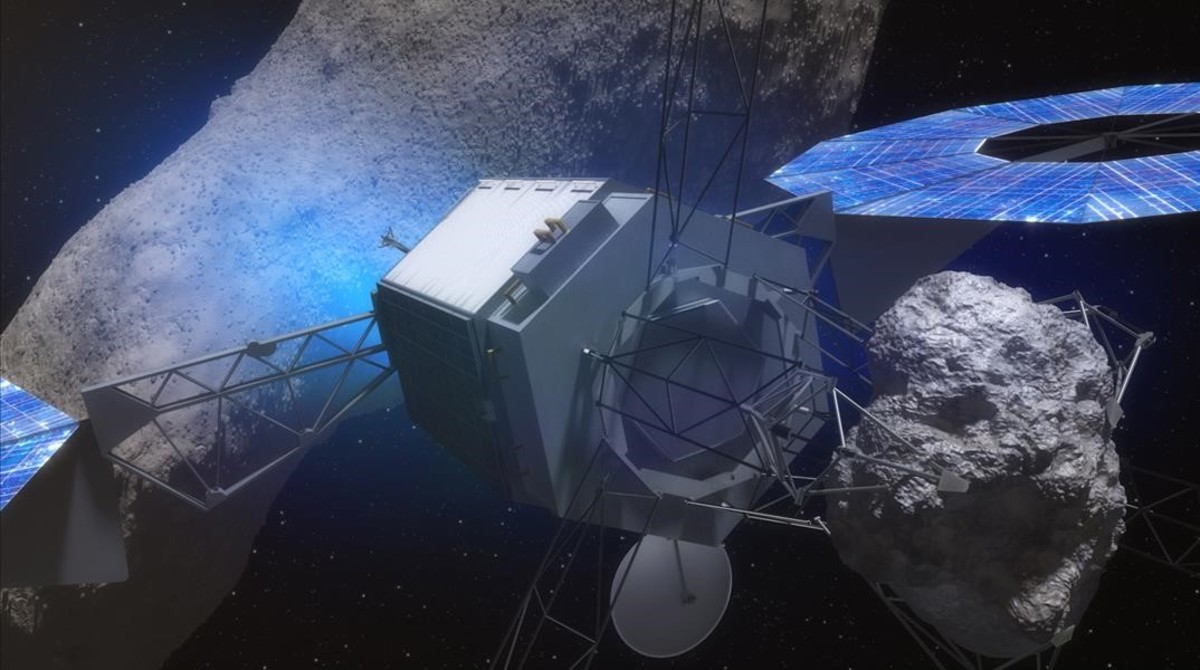 Simulación de ARM (Asteroid Redirect Mission),misión cancelada por laNASA que estaba destinada a la captura de un asteroide para llevarlo a la órbita de la Luna.