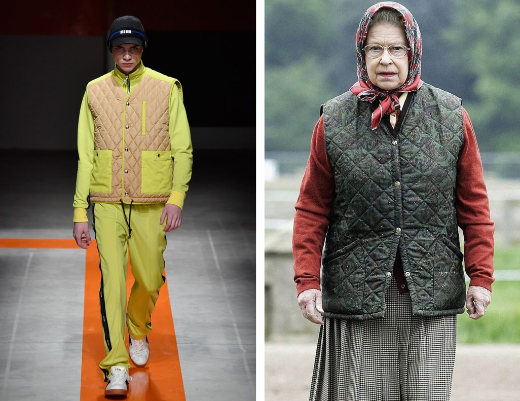 A la izquierda, un modelo en la Fashion Week de Milan. A la derecha, la reina Isabel II en Escocia.