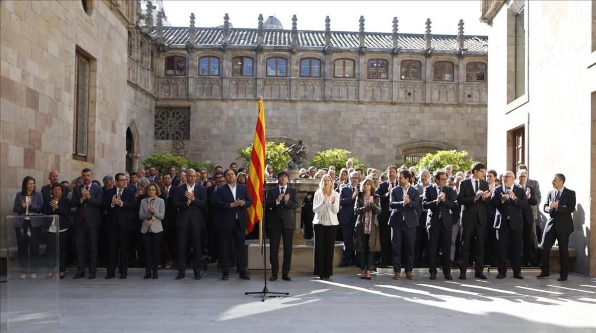 Acto solemne del Govern en apoyo al referéndum en el Palau de la Generalitat.