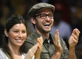 Justin Timberlake y Jessica Biel, en un partido de los Lakers, en una imagen de archivo.