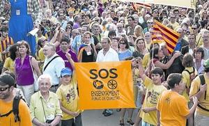 Manifestació de Som Escola a favor de l'ensenyament públic i en català, el 14 de juny passat a Barcelona.