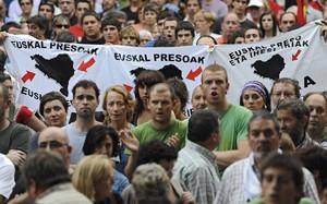 Manifestació de suport als presos dETA a Sant Sebastià.